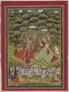 Harinarayan. Ladies Worship Krishna and Radha. Opaque watercolor and gold on paper, 1875 - 1925, Norton Simon Museum