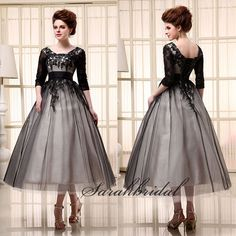 Black Tea Length Lace Plus Size Dress