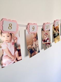 12 Months Photo Banner. First Birthday Banner. Pink and Gold Glitter Birthday. Boy and girl. by InspiredbyAlma on Etsy https://www.etsy.com/listing/270298724/12-months-photo-banner-first-birthday
