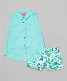 Look what I found on #zulily! Aqua Floral Button-Up Top & Shorts - Infant, Toddler & Girls #zulilyfinds