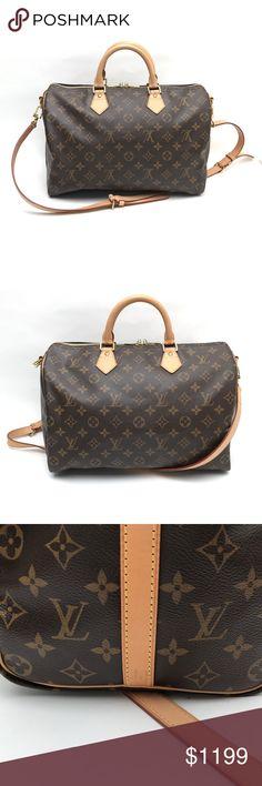 LV Bandouliere Speedy 35 Monogram Crossbody Design AUTHENTIC Louis Vuitton Speedy  35 bag with detachable shoulder a981fd7475497
