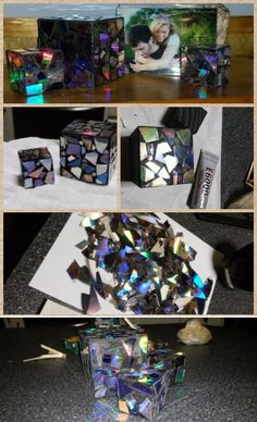 Craft with broken cd's and wooden blocks