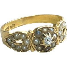 Victorian 18K Gold Diamond and Seed Pearl Dress Ring sold by Corvidae Antique on Ruby Lane