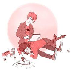 Artist and writer duo, they're working hard. Meraculous Ladybug, Ladybug Comics, Ladybugs, I Love Pic, Miraculous Ladybug Anime, Fanart, Cute Gay, Lucky Charm, Cartoon