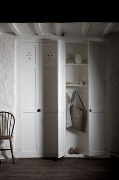 holes on frog door and pantry? The simple, functional, beautiful fitted pantry cupboard by deVOL Kitchens. Airing Cupboard, Pantry Cupboard, Cupboard Storage, Cupboard Doors, Locker Storage, Pantry Doors, Utility Cupboard, Coat Storage, Unfitted Kitchen