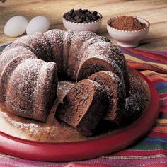 Chocolate Bundt Cake (with Chocolate Chips) If you cook it less than 24 hrs before serving, the chips stay melty