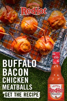 Hot Sauce, Bacon And Meatballs? These Bite-Sized Bacon-Wrapped Chicken Meatballs Are Sauced With Franks Redhot For The Ultimate Chicken Meatball Recipes, Chicken Meatballs, Chicken Bacon, Buffalo Chicken, Buffalo Meatballs, Chicken Bites, Appetizer Recipes, Keto Recipes, Appetizers