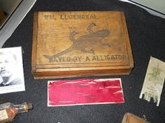 "According to accounts, the captain of the boat kept an alligator in the hull. After the explosion, soldier William Lugenbeal killed the alligator in order to use the crate that held it as a flotation device. Later, he made a box from the wood and etched an image of the reptile and the following words: ""Save by a Alligator"""