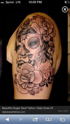 Day of the dead tattoo. I absolutely love this