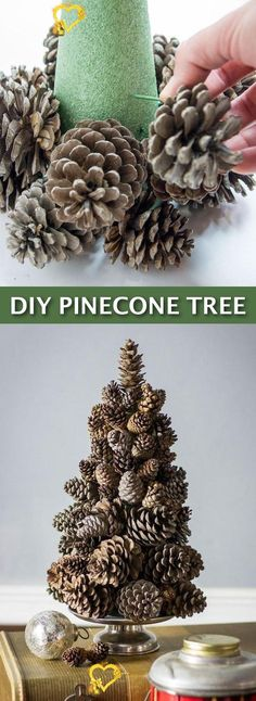Easy DIY Cheap Christmas Decor-- super easy pine cone tree craft! Lots of craft ideas for adults for the home, for fun, for gifts, to sell and more! Some of these would be perfect for Christmas or other holidays. A lot of awesome projects here! Listotic.com<br> Dollar Store Christmas, Cheap Christmas, Simple Christmas, Christmas Crafts, Christmas Decorations, Homemade Christmas, Dollar Tree Store, Christmas Wreaths, Holiday Decor