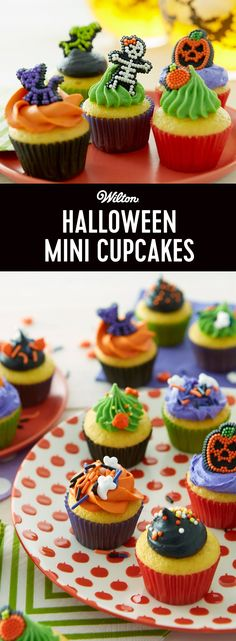 Create a frightful feast of sweet treats for Halloween trick-or-treaters and partygoers. These Halloween mini cupcakes make the most of the party, and are perfect for kids and adults. Easy to decorate with Wilton® Sprinkle Decorations and Icing Decorations in skeleton, Jack-O'-Lantern, Ghosts and other scary shapes!