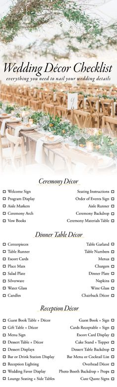 Wedding Checklist Wedding Decor Checklist - Designing your wedding can be a little overwhelming, but our wedding décor checklist is here to help! Here's everything you need to nail the details. Before Wedding, Wedding Tips, Wedding Details, Wedding Venues, Wedding Quotes, Wedding Binder, Budget Wedding, Wedding To Do List, Wedding Hacks