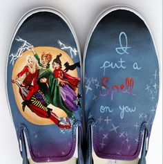 Hocus Pocus themed hand painted vans shoes. Have your own shoes customized through my etsy shop at http://www.etsy.com/shop/waffleink I put a spell on you and the three witches of the movie