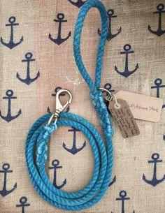Evening Blue Reclaimed Rope Leash by WashashoreStore on Etsy https://www.etsy.com/listing/478254203/evening-blue-reclaimed-rope-leash