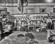 "Washington, D.C., circa 1928. ""Fire Dept. truck decorating."" National Photo Company Collection glass negative."