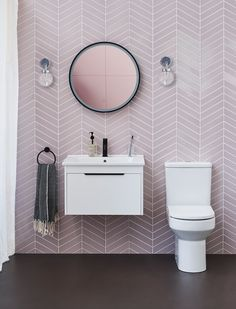Transform your bathroom with pale pink herringbone tiles and Britton's affordable, on-trend white ceramics. Pink Bathroom Tiles, Modern Bathroom Decor, Bathroom Design Small, Bathroom Interior Design, Pink Bathrooms, Ceramic Tile Bathrooms, Pink Tiles, Small Toilet Room, Bathroom Plans