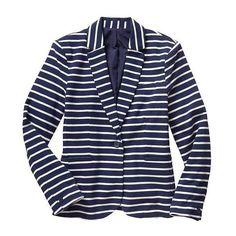 Gap Women Stripe Blazer (945 MXN) ❤ liked on Polyvore featuring outerwear, jackets, blazers, blue striped jacket, blue striped blazer, striped jacket, striped blazer and blue blazer jacket