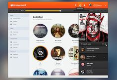 XOO Plate :: Redesigned Grooveshark Music Interface PSD - Grooveshark redesigned - orange header, vertical menu, circular album thumbnails and much more - PSD.