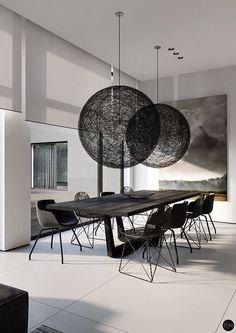 Sala da pranzo bianca e nera 03