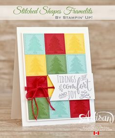The new Stitched Shapes Framelits are absolutely perfect to make a paper quilt to send some warm holiday wishes to friends. - Allison Okamitsu