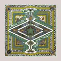 Hermès silk scarf, Carré twill de soie 90 cm ORS BLEUS D'AFRIQUE.