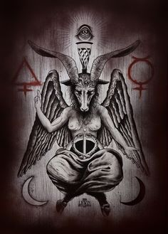 Baphomet on wood by Ien Levin, via Behance