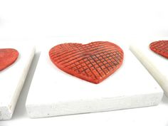 Wall Ceramic heart ornament Valentines ornaments by 99heads