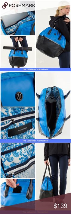 """Lululemon Happy Hatha Hour Bag *rare* structured design means this bag doesn't tip over when you're packing durable PU (polyurethane) fabric is changeroom friendly and easy to wipe clean this bag opens wide so you don't have to dig for your stuff quick-access exterior pocket keeps your phone close at hand removable, stowable mat strap makes carrying your mat a breeze interior wet/dry pockets help keep your sweaty unmentionables separate interior padded pocket designed to fit a 17"""" (43 cm)…"""