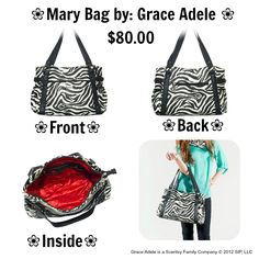 """❀ Grace Adele Mary Bag ❀ Casually chic, the Mary satchel bag will hold everything you need to take on the day. Crafted of faux leather and silver-toned hardware.     • Faux leather  • 17"""" L, 11"""" H, 5"""" W  • Handles with 10"""" drop  • Exterior pocket fits any Grace Adele Clutch  Call me @(920) 435-5550 or (920) 360-4062 or Visit Me @ https://stylewithbarbara.graceadele.us/GraceAdele/Home"""