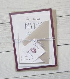 Modern Script Wedding Invitation Purple Kraft by RiverCityStudio
