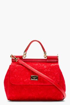 Dolce & Gabbana Red Lace & Leather Miss Sicily Taormina Bag for women   SSENSE