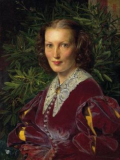 """""""Portrait of Mrs. Clabburn""""  --  1860  --  Frederick Sandys  --  British  --  Oil on mahogany panel  --  No further reference provided."""