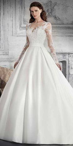 Stunning Satin & Lace Jewel Neckline A-line Wedding Dress With Beaded Lace Appliques