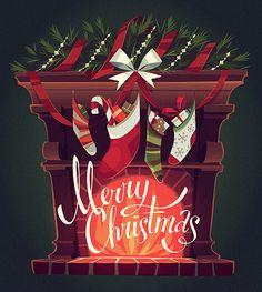Christmas cards 2015 on Behance Diy Christmas Garland, Diy Christmas Cards, Christmas Mood, Christmas Design, Christmas Wishes, Christmas Projects, Christmas Greetings, Christmas Traditions, Vintage Christmas
