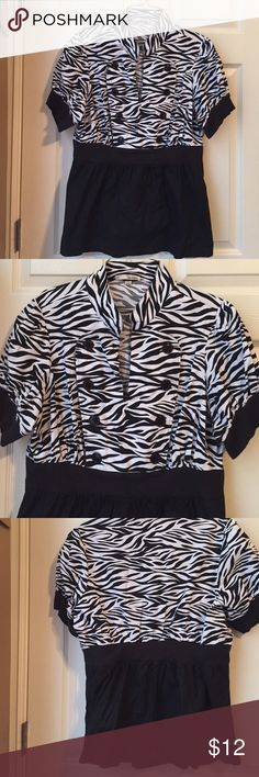 Blouse Really cute zebra print and black blouse. Worn once. Button detailing down the front. Light electric band at waist. bee bop Tops Blouses