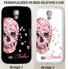 WHITE PINK FLORAL SKULL MONOGRAM PHONE Case For Samsung Galaxy S7 S6 S5 NOTE 5 4 #UnbrandedGeneric
