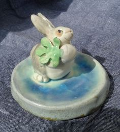 Bunny Holding Turnip Ring Dish by Dragonware on Etsy,