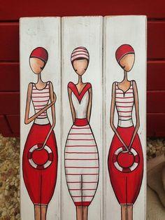 """""""Les trois baigneuses"""" peintes à l'acrylique sur lames de bois collées de couleur blanche  dimensions 18 cm x 50 cm puis verni  Modèle unique pour une déco bord de mer un p - 20445750"""