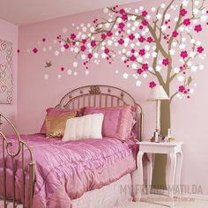 Cherry Blossom Tree Wall Decal for Home and Nursery — Removable Wall Decals & Stickers by My Friend Matilda Diy Room Decor For Teens, Teen Room Decor, Bedroom Decor, Bedroom Wall Designs, Girl Bedroom Walls, Kids Room Paint, Little Girl Rooms, Tree Wall, Cherry Blossom