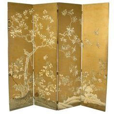 Chinoiserie Folding Screen to put as decoration behind the chair.maybe we can find them for cheap somewhere Japanese Screen, Japanese Art, Room Divider Screen, Room Dividers, Bedroom Screens, Chateau Hotel, Chinoiserie Wallpaper, Decorative Screens, Asian Decor