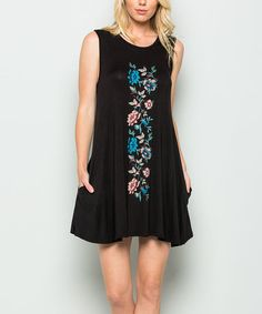 Black Floral Pocket Tunic Dress #zulily #zulilyfinds