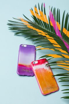 Feel the tropical vibes with these cool iPhone cases in colorful sunset inspired hues of pink, purple and orange. Give your iPhone a makeover for Spring!