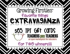 We all know Oprah and we know how generous Oprah is! So, this week my sweet friend, Lisa from Growing Firsties, is having a Favourite Things Extravaganza going on this week (and check out her blog bc she has a  pic with Oprah, too! So cool!!!!)  SO many fun giveaways and prizes! Great and useful items for B2S!