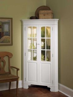 Corner Curio Cabinet with Light - White - Home Styles