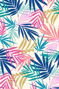 Shadow Palm by laura_may - Colorful vintage toned palm leaves on cream on fabric, wallpaper, and gift wrap. Playful botanical design in muted colors.