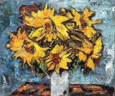 Gheorghe Petraşcu, Floarea-soarelui - Licitația de Vară #293/2018 - Arhivă rezultate Cubism, Window Sill, Candlesticks, Painters, Still Life, Wreaths, Flowers, Candle Holders, Florals