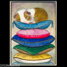 ACEO Ed Guinea Pig Painting Print Suzanne Le Good | eBay