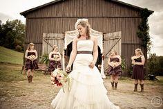 Wedding Party. Bride with Bridesmaids in front of barn. Purple. Wedding Photo by Josh Bennett Wedding Photography based in Nashville, TN. www.josh-bennett.com
