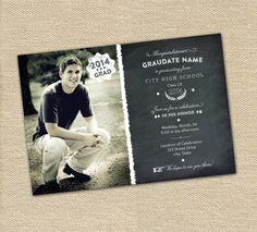 Chalkboard Photo Graduation Announcement or Party by Gretchee, $15.00