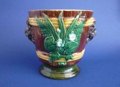 Unusual Majolica Plant Pot with Ferns, Wood Sorrel and Grotesque Masks c1880